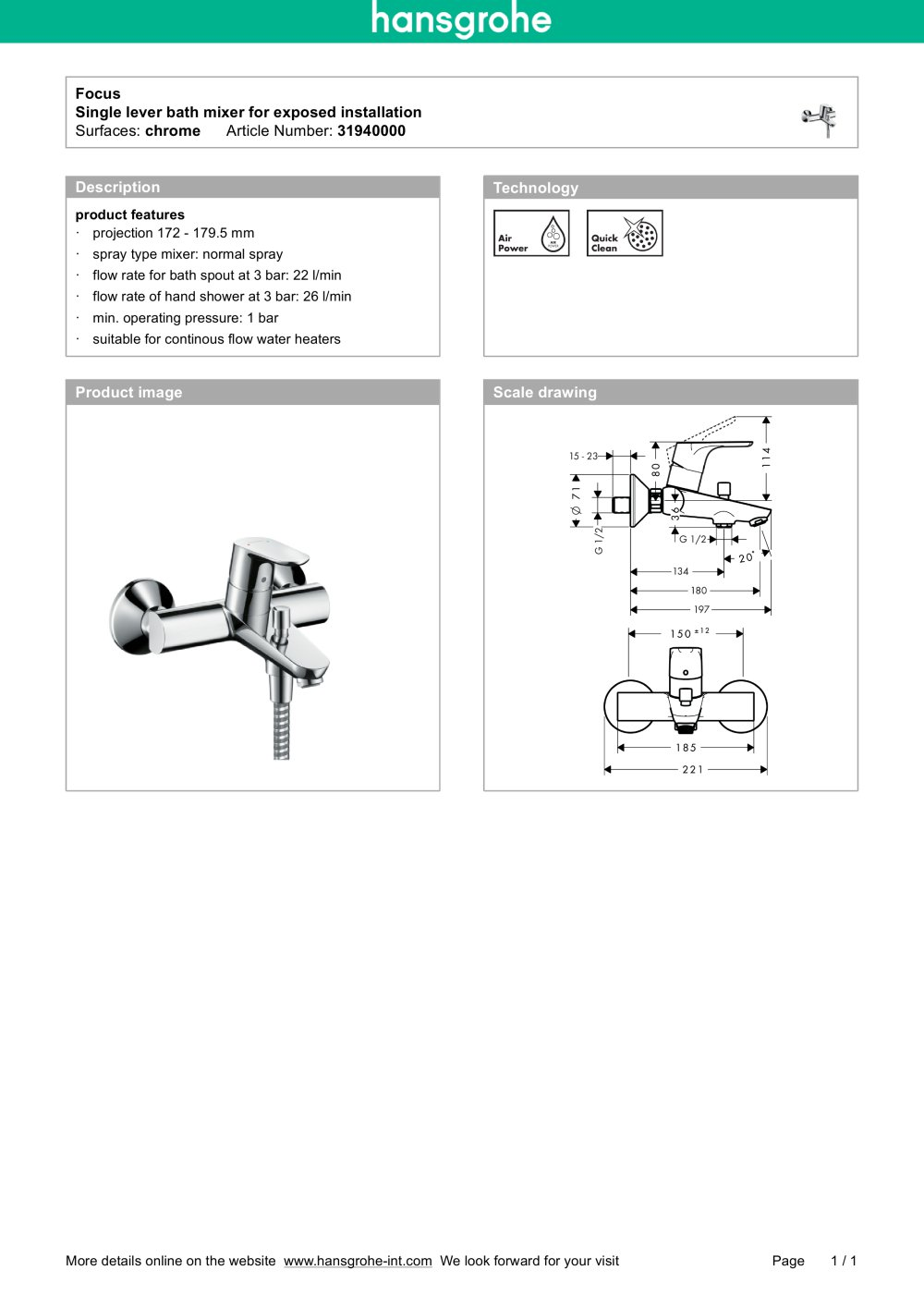 Focus - hansgrohe - PDF Catalogues | Documentation | Brochures
