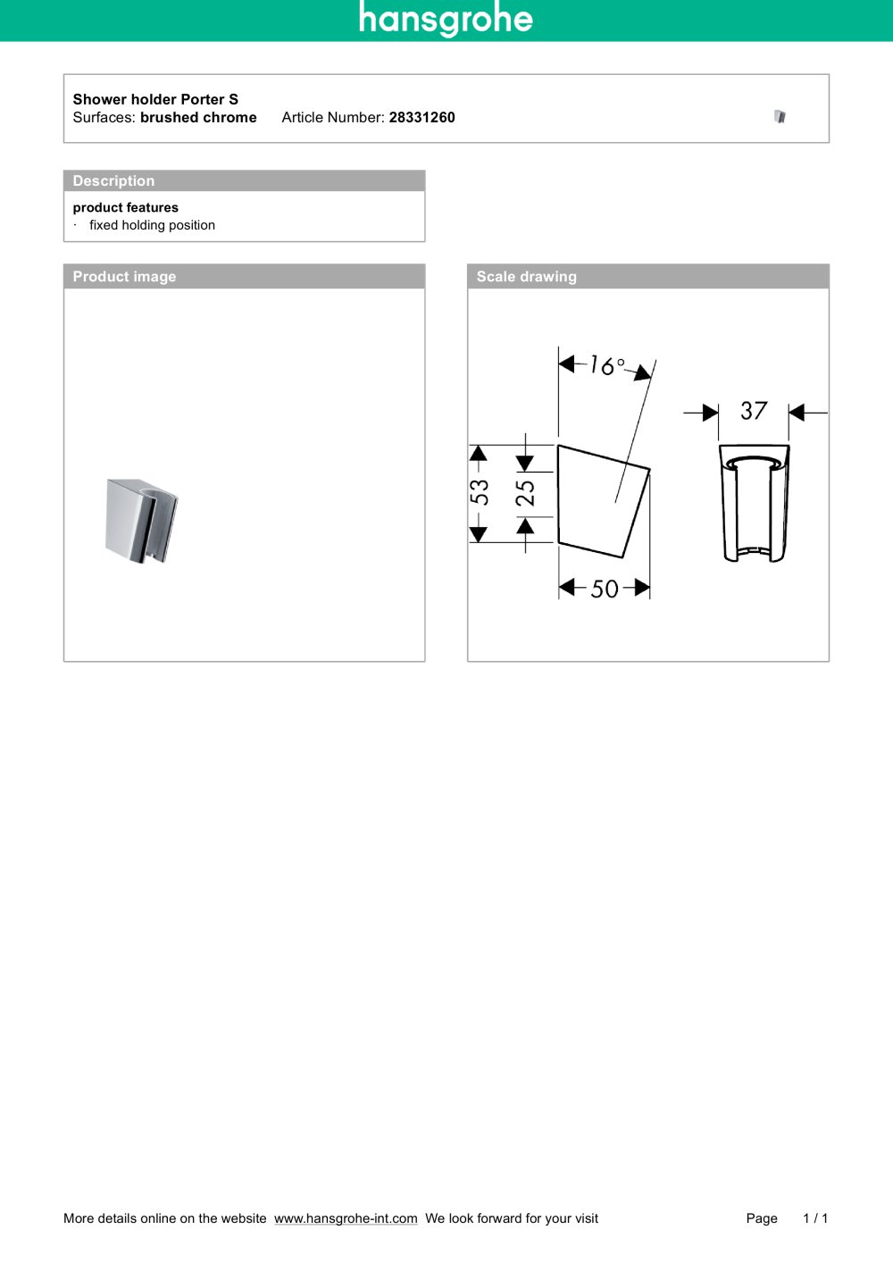 Shower holder Porter S 28331260 - hansgrohe - PDF Catalogues ...