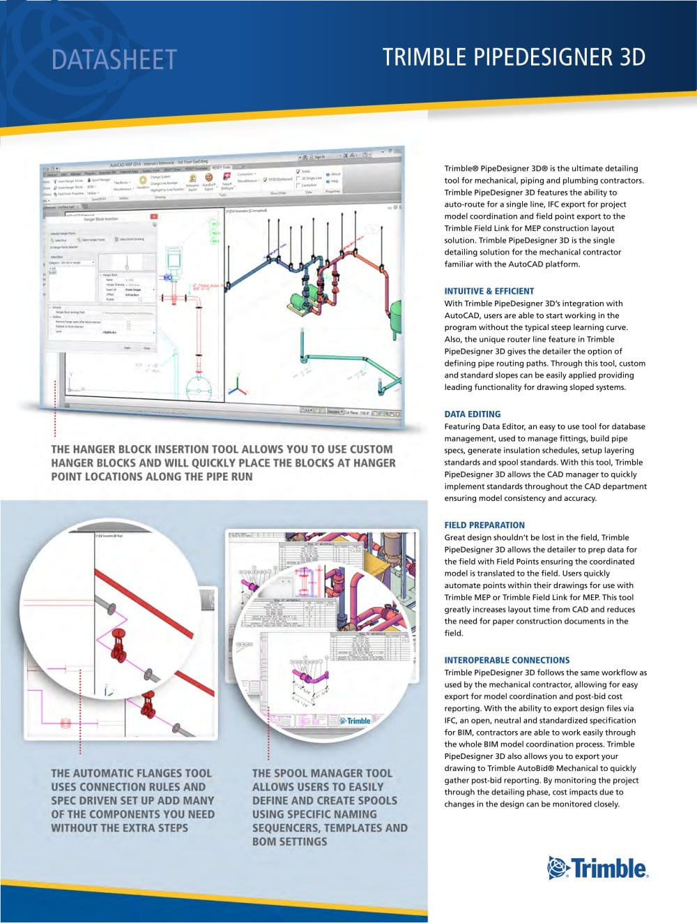 Trimble Pipedesigner 3d Mep France Pdf Catalogues Piping Layout Drawing 1 2 Pages