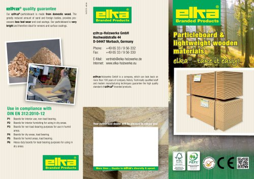 Particleboard and lightweight wooden materials