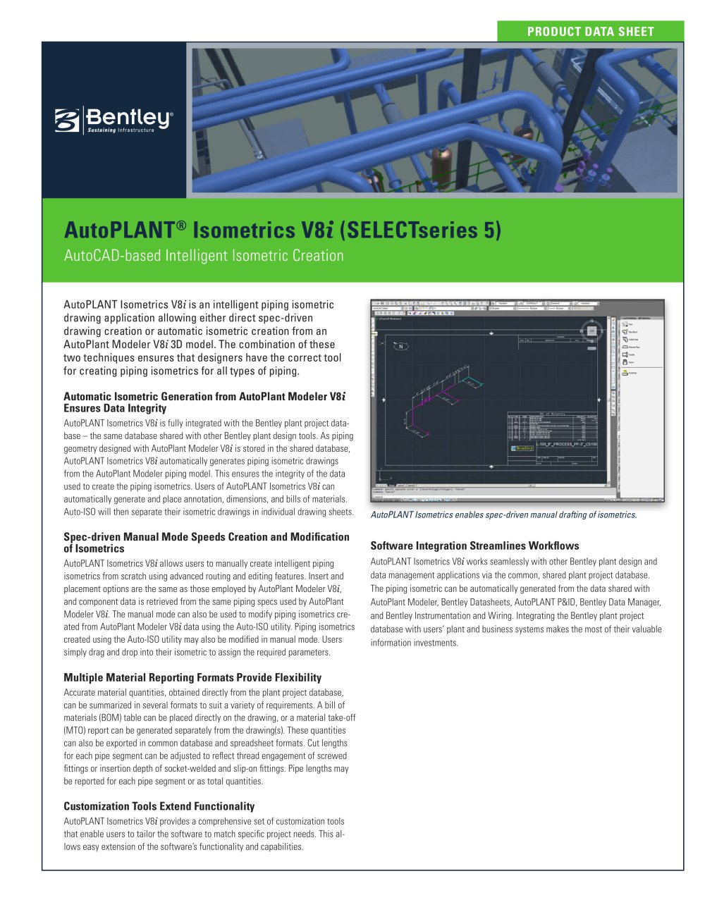 AutoPLANT Isometrics V8i - 1 / 2 Pages