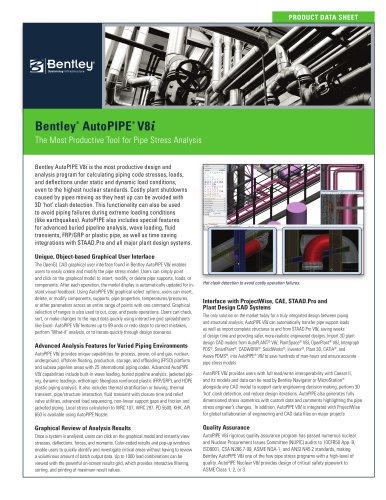 Bentley AutoPIPE V8i - BENTLEY SYSTEMS - PDF Catalogs