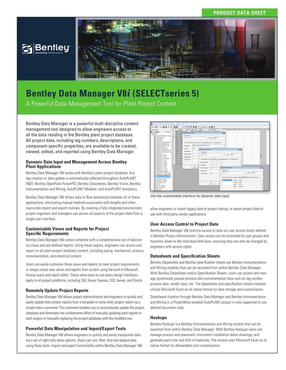 Bentley Data Manager V8i - 1 / 2 Pages