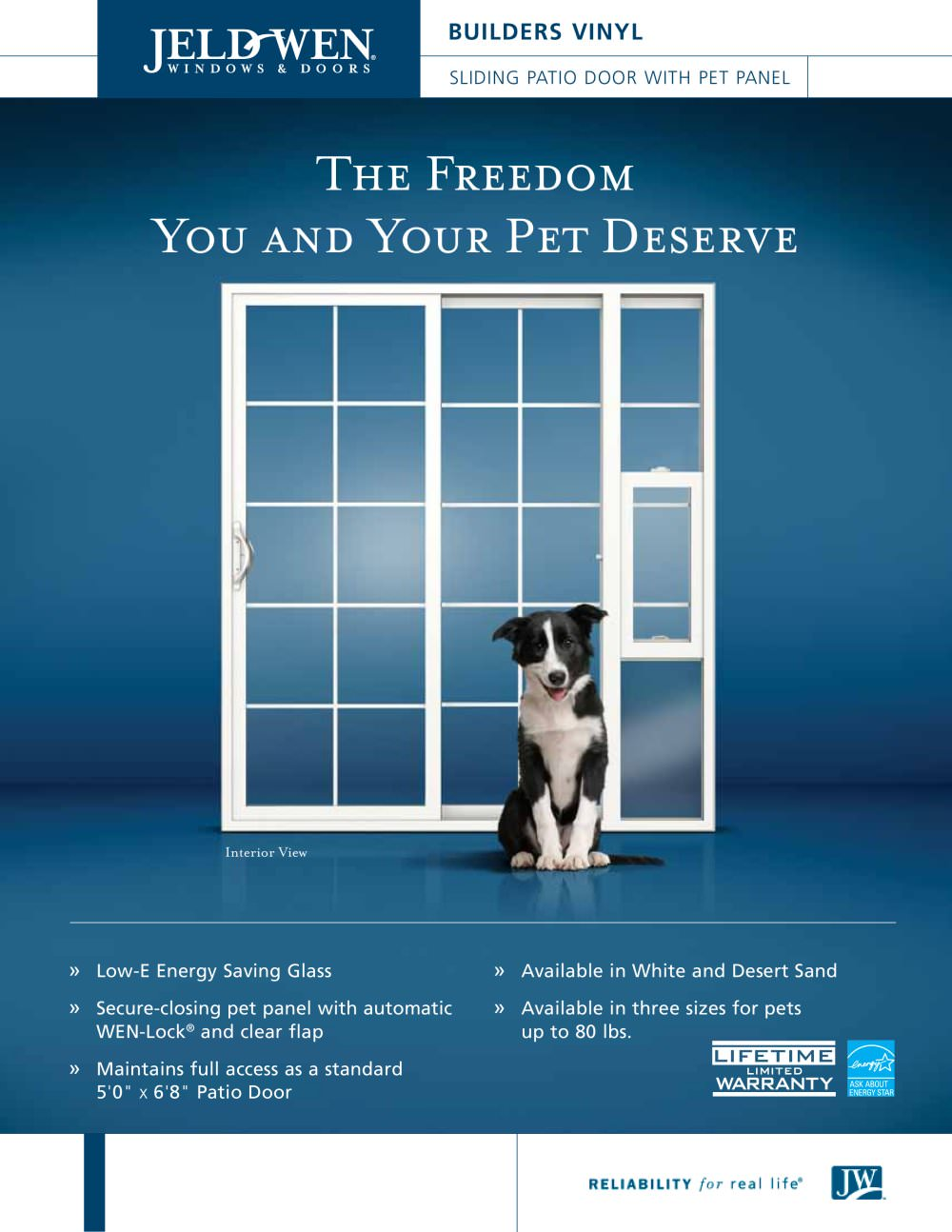 Builders Vinyl Sliding Patio Door With Pet Panel Jeld Wen Pdf