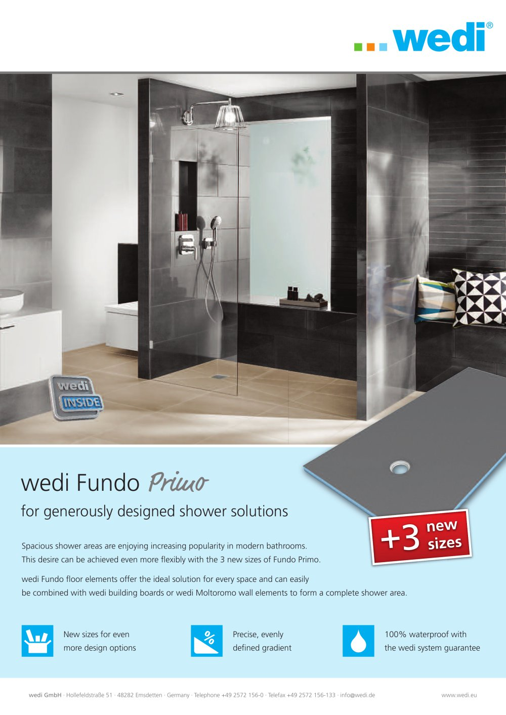 Wedi Emsdetten fundo primo dimensions wedi gmbh pdf catalogues documentation