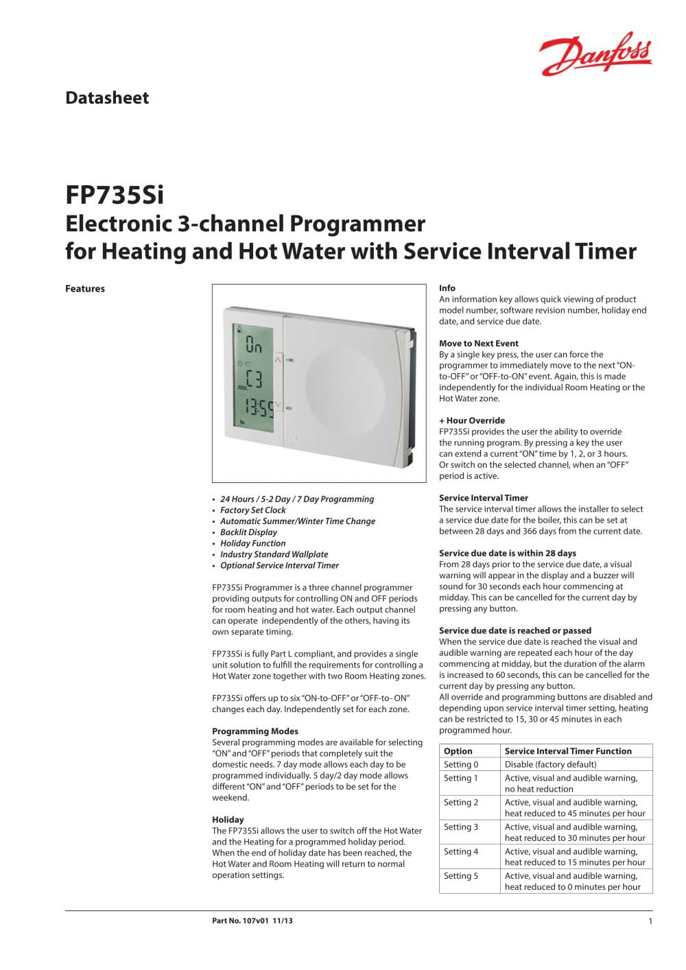 Fp735si Danfoss Pdf Catalogues Documentation Brochures Three Hour Timer 1 2 Pages