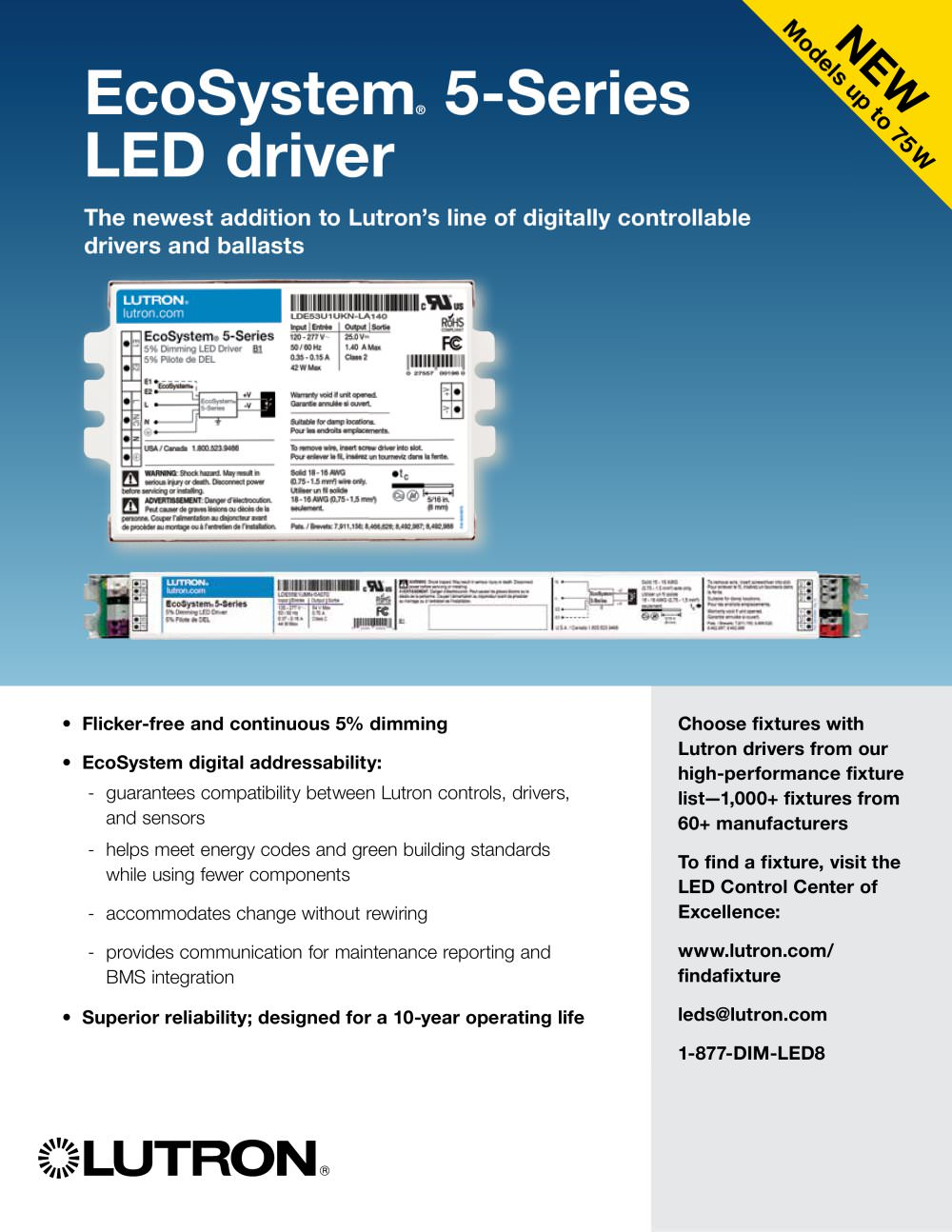 5-Series LED Driver with EcoSystem - LUTRON ELECTRONICS - PDF ...