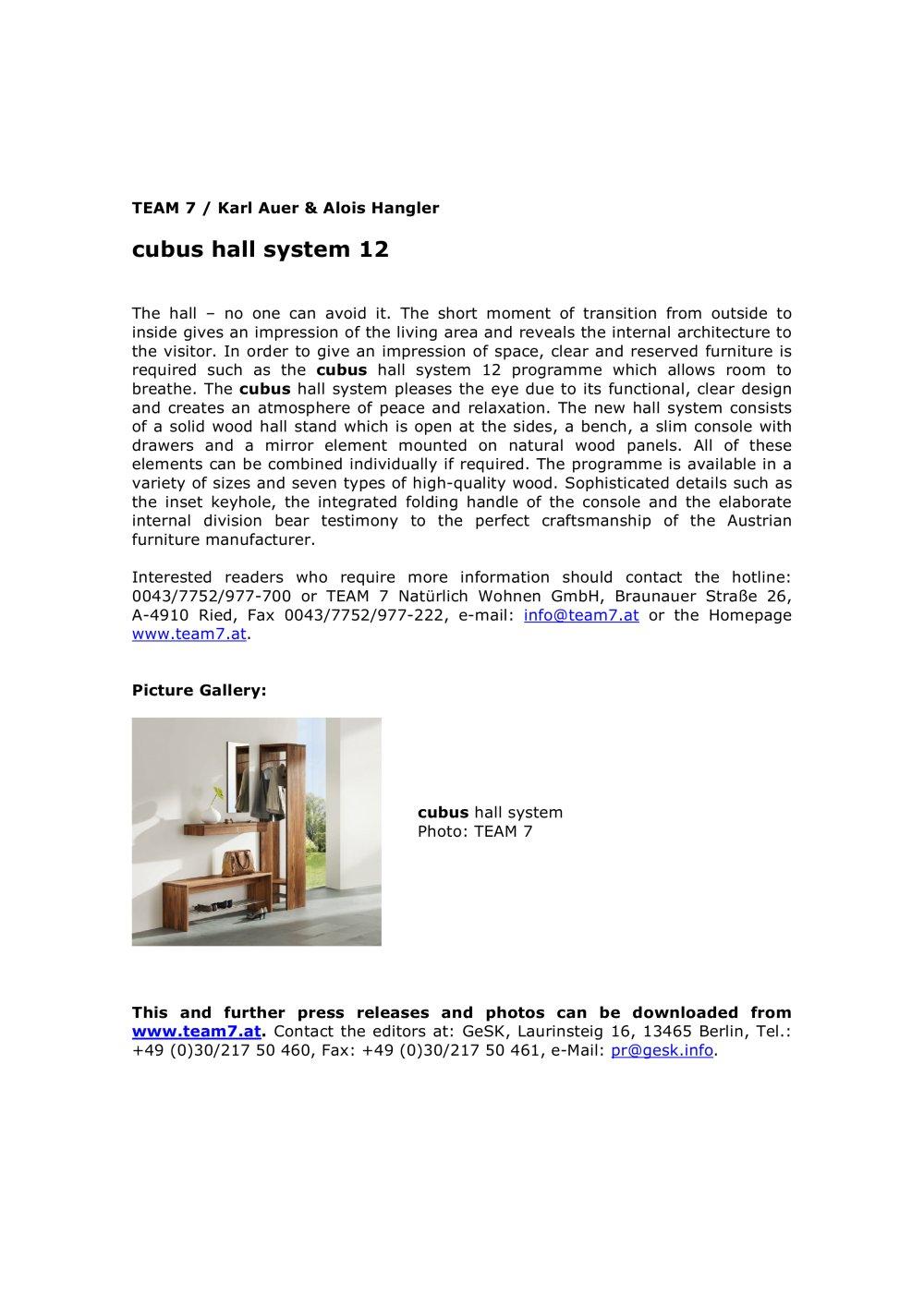 Cubus Berlin cubus system 12 team 7 pdf catalogues documentation