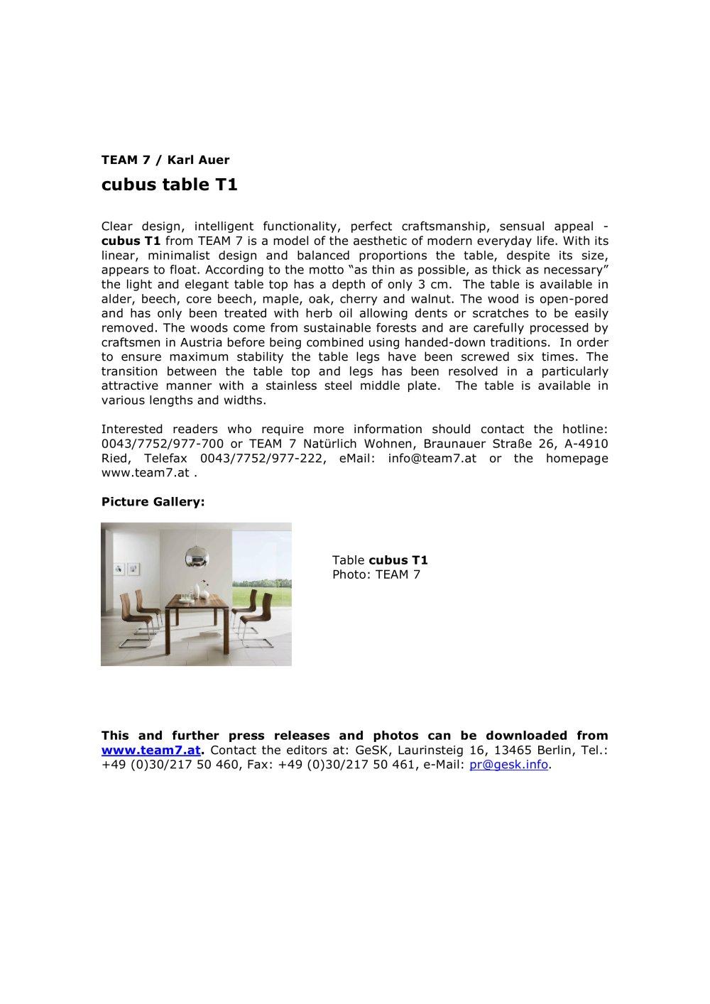 Cubus Berlin cubus table t1 team 7 pdf catalogues documentation brochures