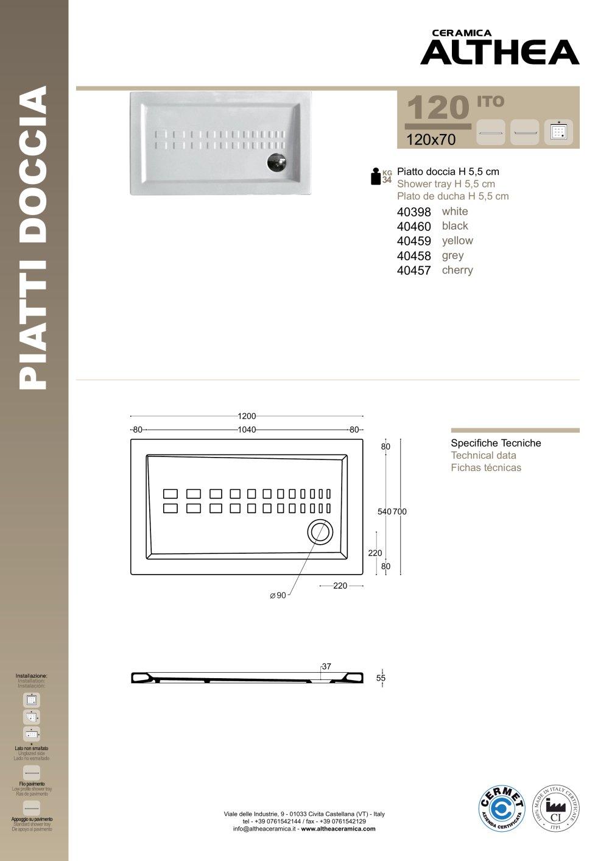 Piatto Doccia Althea Ito.Ito 120 70 Ceramica Althea Pdf Catalogs Documentation Brochures