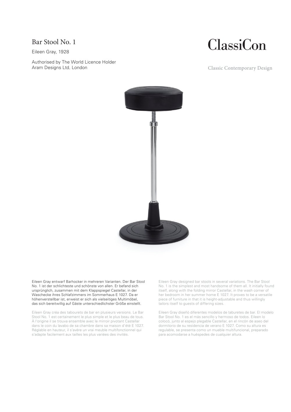 Bar Stool No 1 1928 Classicon Pdf Catalogues Documentation  # Muebles Himher S A