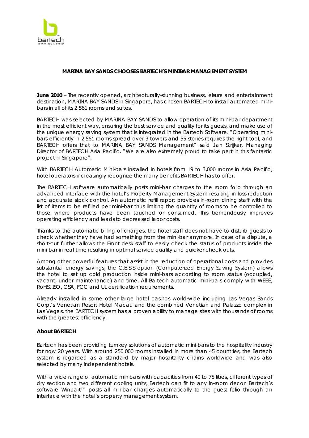 MARINA BAY SANDS CHOOSES BARTECH\'S MINIBAR MANAGEMENT SYSTEM ...