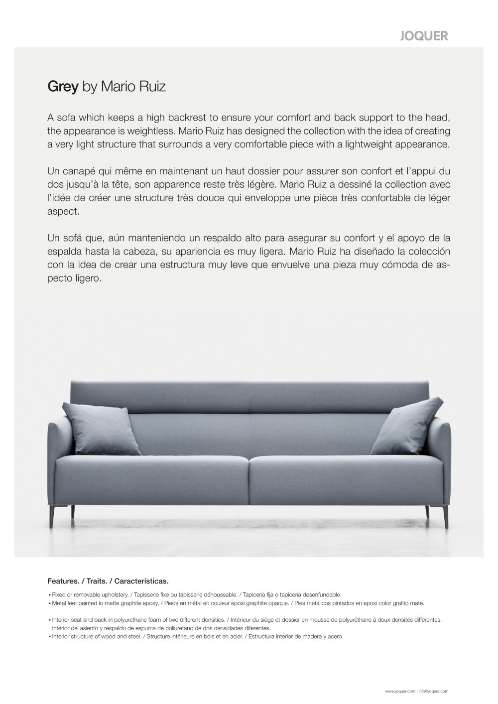 Grey - Sofa - Joquer - PDF Catalogues | Documentation | Brochures