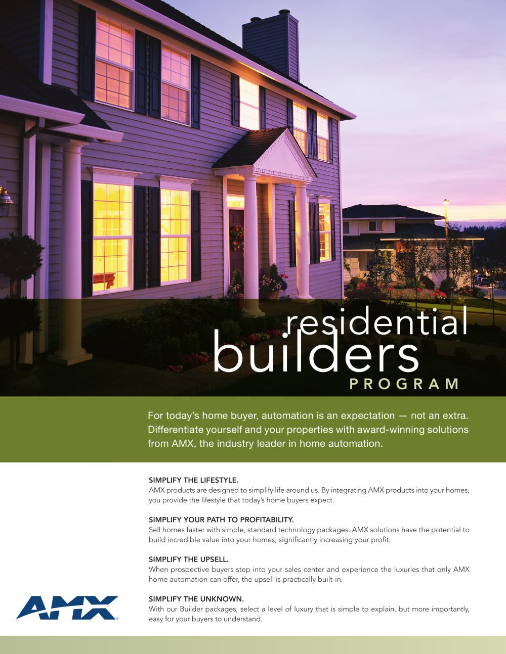 residdential builders program amx pdf catalogues documentation