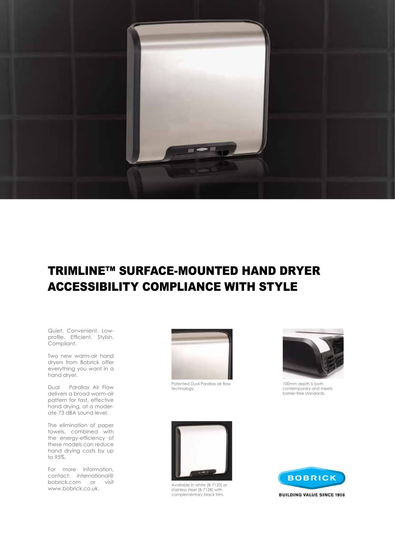 Bathroom Hand Dryers Style trimline hand dryers - bobrick washroom equipment - pdf catalogues