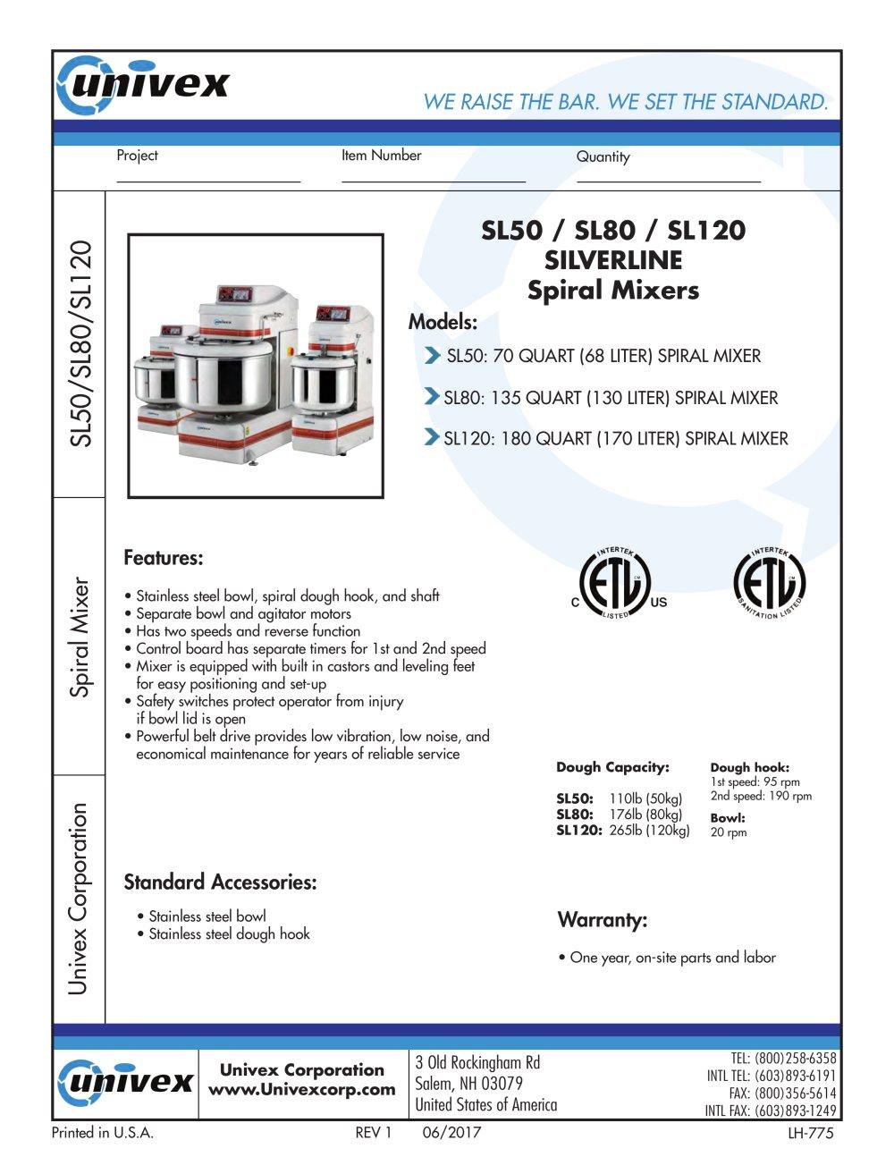 SL50/SL80/SL120 - UNIVEX - PDF Catalogs | Documentation