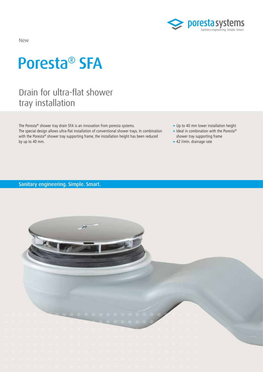 NEW Poresta® SFA Drain for ultra-flat shower tray installation ...