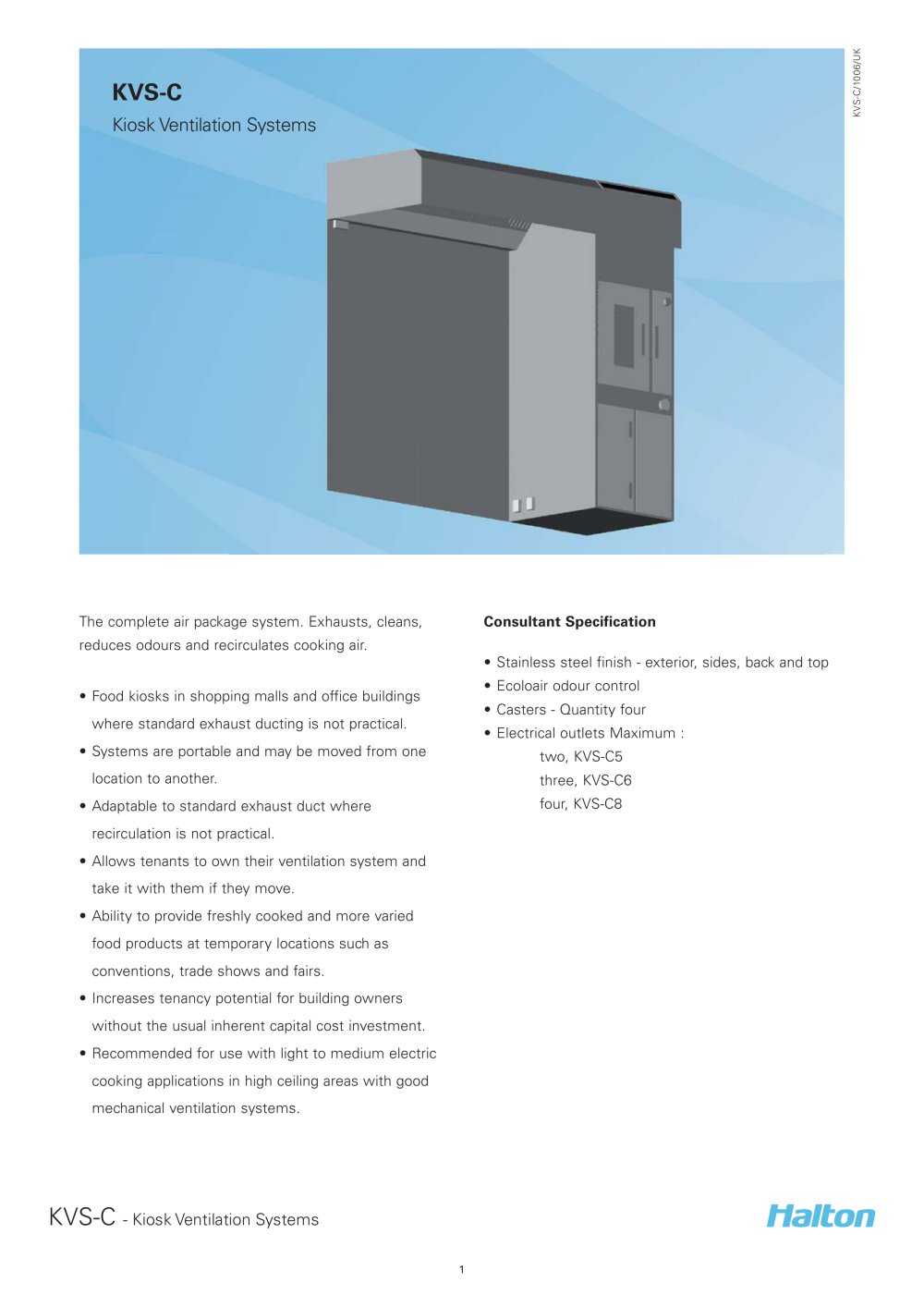 kvs c kiosk ventilation systems halton pdf catalogues kvs c kiosk ventilation systems 1 3 pages