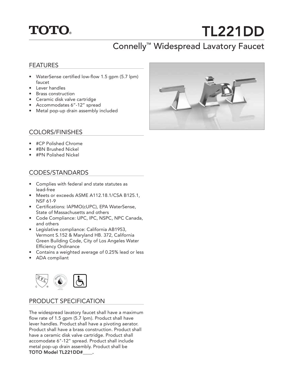 Connelly ?TL221DD - Toto - PDF Catalogues   Documentation   Brochures