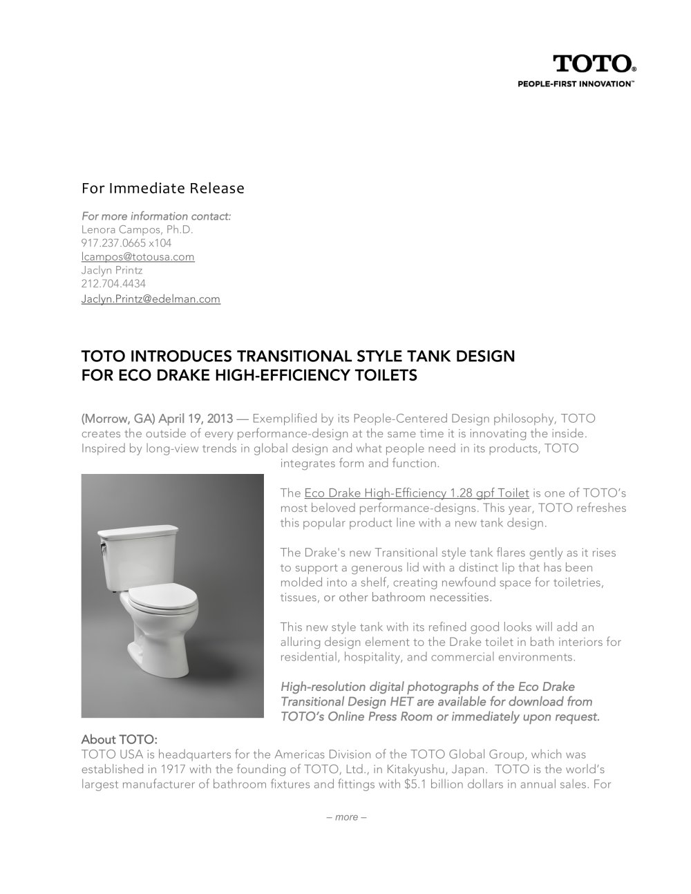 Drake transitional - Toto - PDF Catalogues | Documentation | Brochures