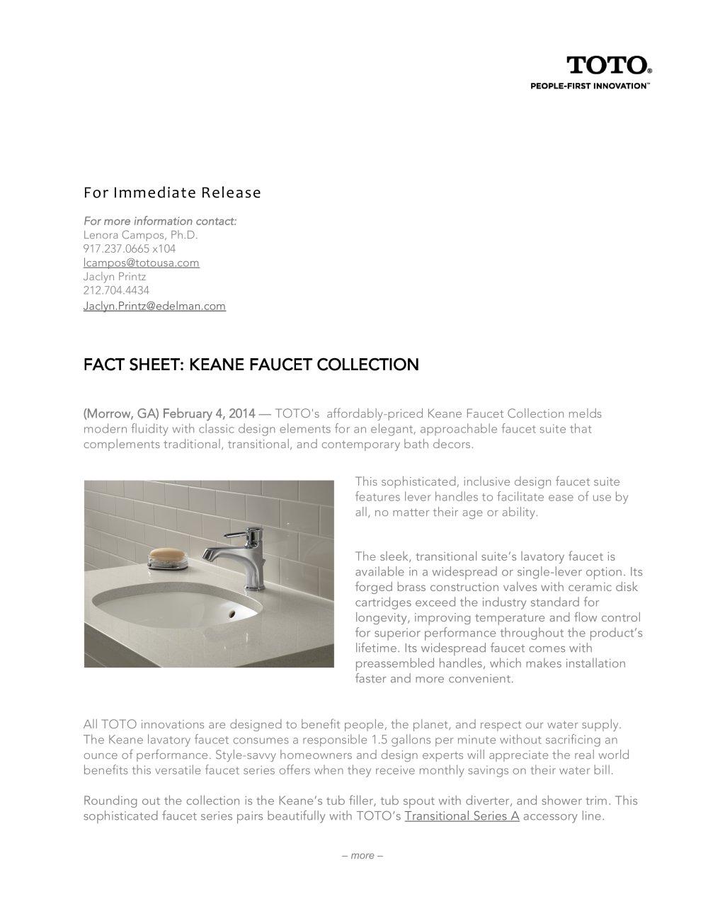 Keane faucet collection - Toto - PDF Catalogues | Documentation ...