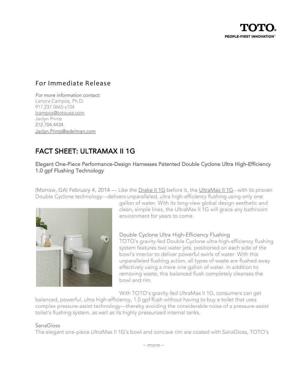 ULTRAMAX II 1G - Toto - PDF Catalogues   Documentation   Brochures