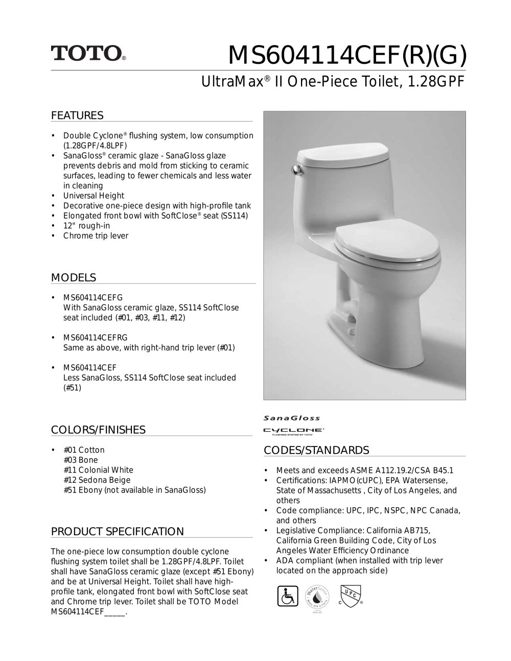 UltraMax ® II One-Piece Toilet - Toto - PDF Catalogues ...