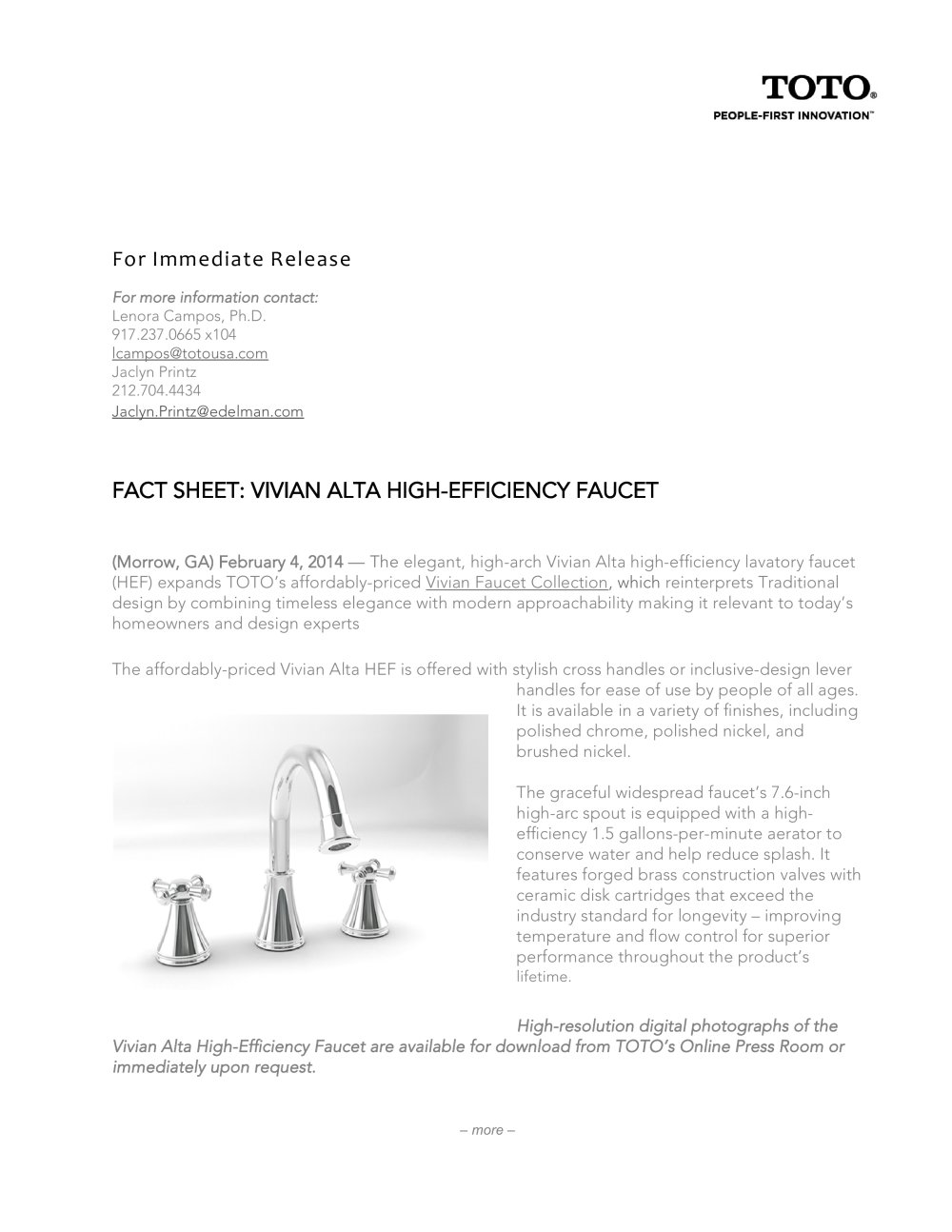 VIVIAN ALTA - Toto - PDF Catalogues | Documentation | Brochures