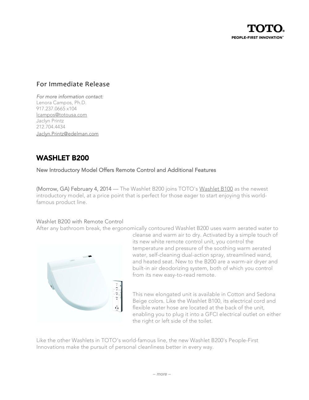 WASHLET B200 - Toto - PDF Catalogues | Documentation | Brochures