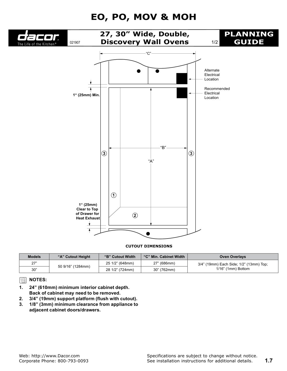 Double Discovery Wall Ovens Dacor Pdf Catalogues Documentation Oven Wiring Diagram 1 2 Pages