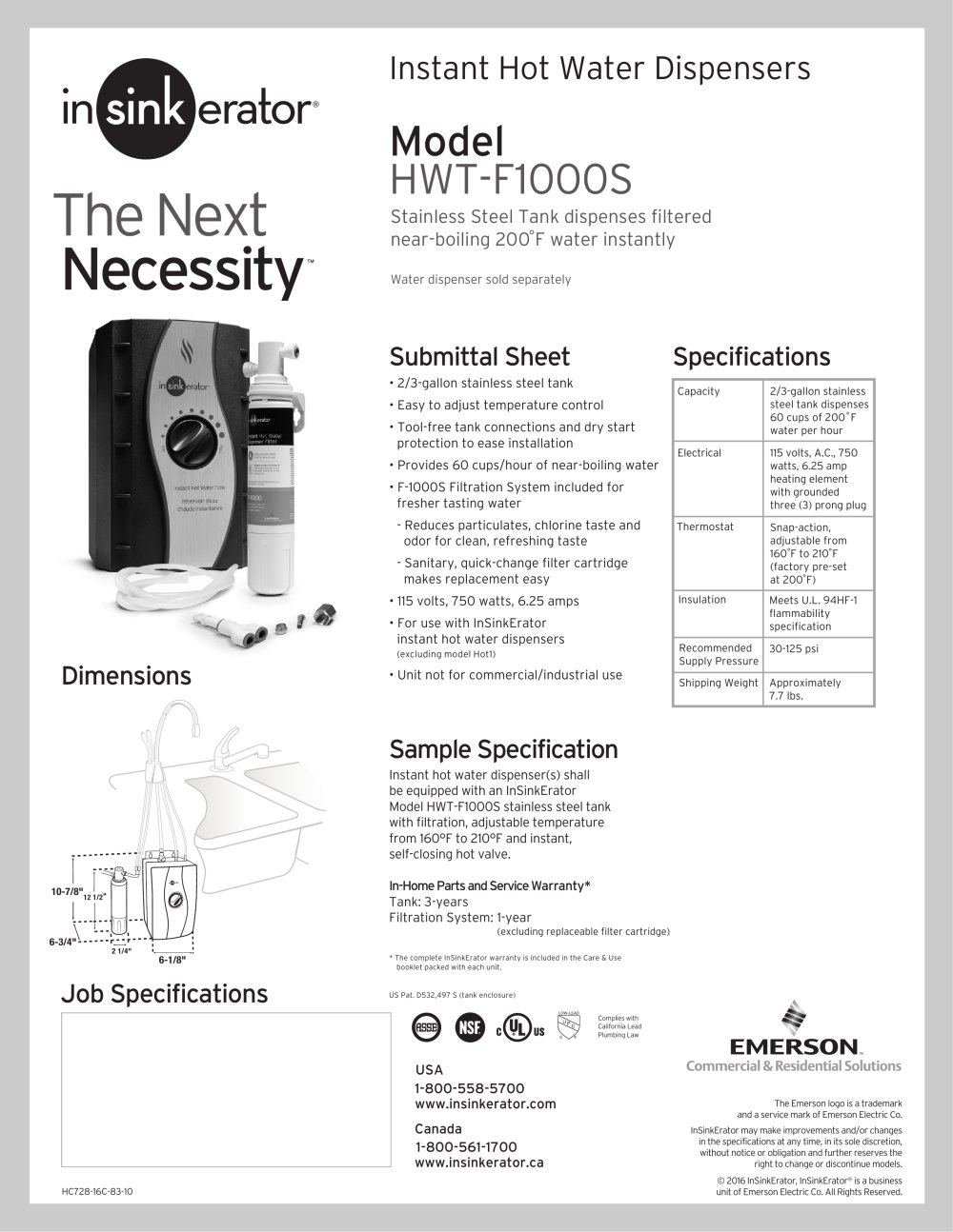 hwt f1000s insinkerator pdf catalogues documentation brochures