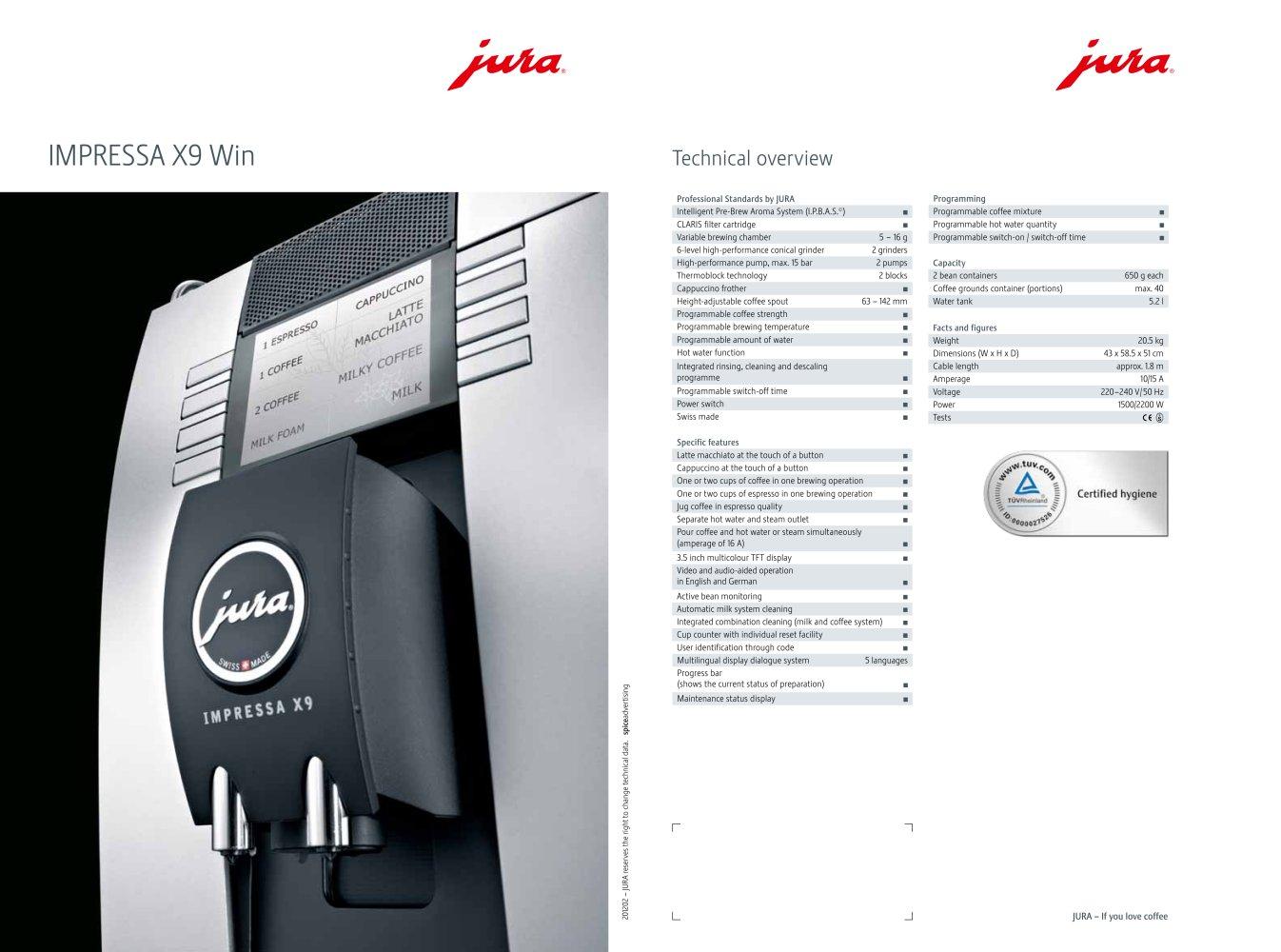 IMPRESSA X9 Win - JURA - PDF Catalogues | Documentation | Brochures