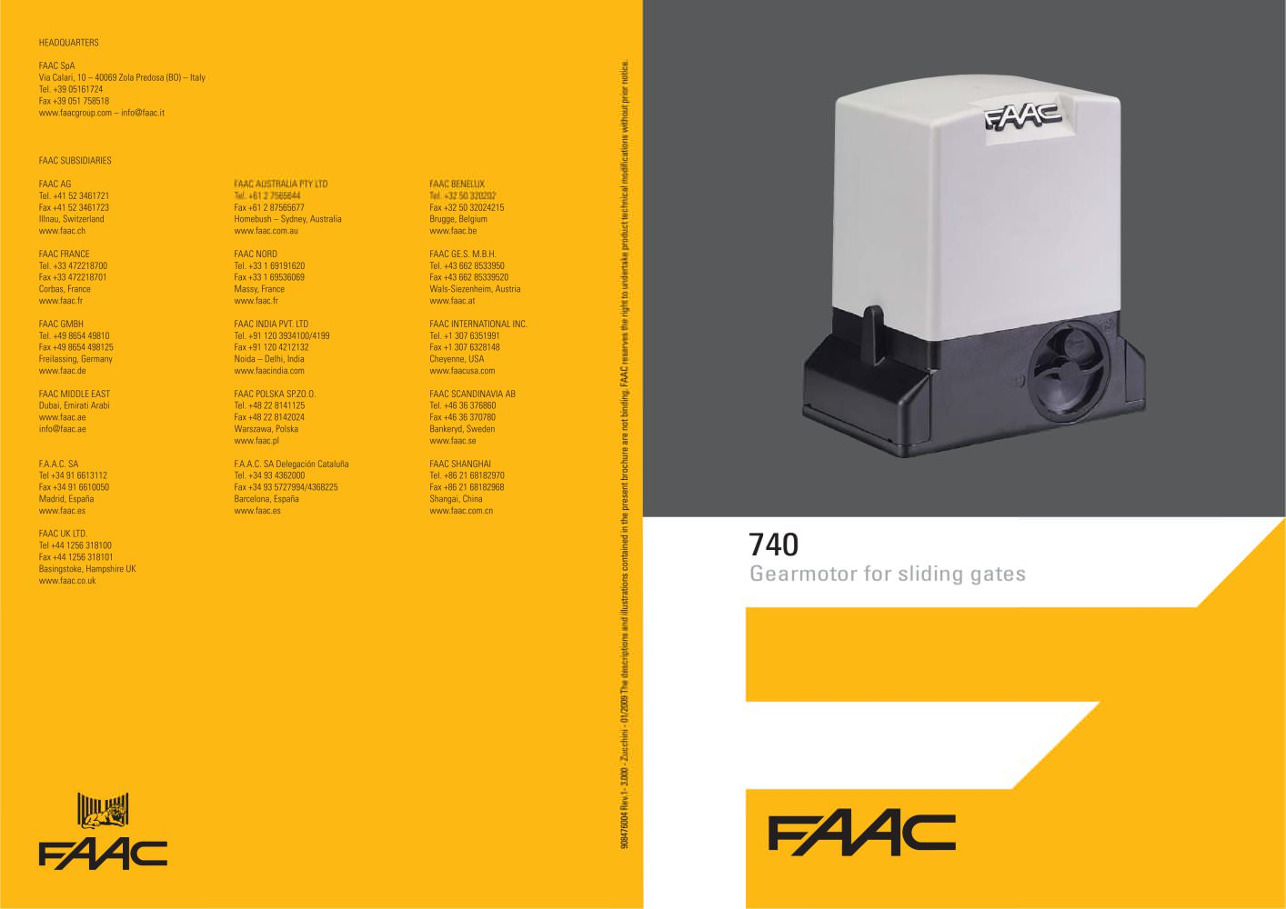 740 741 Sliding Gate Operator Faac Pdf Catalogues Wiring Diagram 1 2 Pages