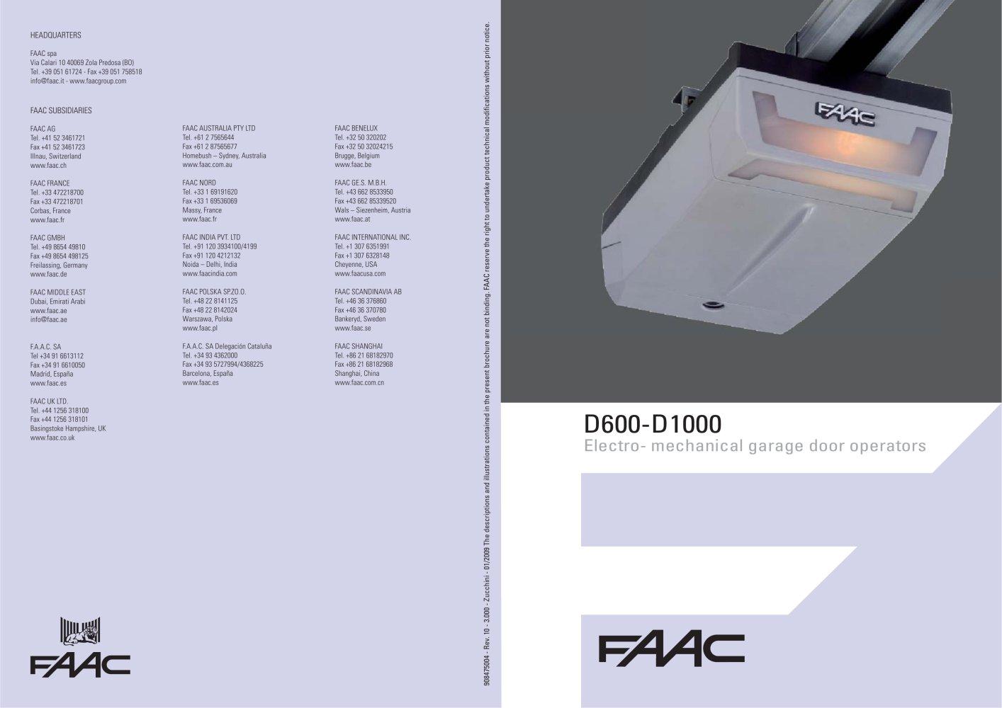 D1000 Garage Door Operator Faac Pdf Catalogues Documentation