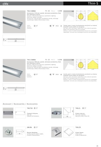 Fluorescent suspended luminaire THIN-S