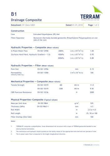 B1 Drainage Composite - TERRAM - PDF Catalogs | Documentation