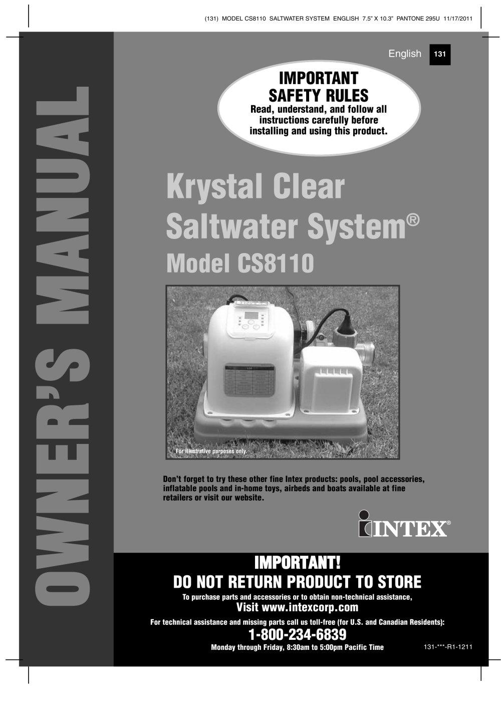 krystal clear saltwater system model cs8110 intex pdf catalogues rh pdf archiexpo com