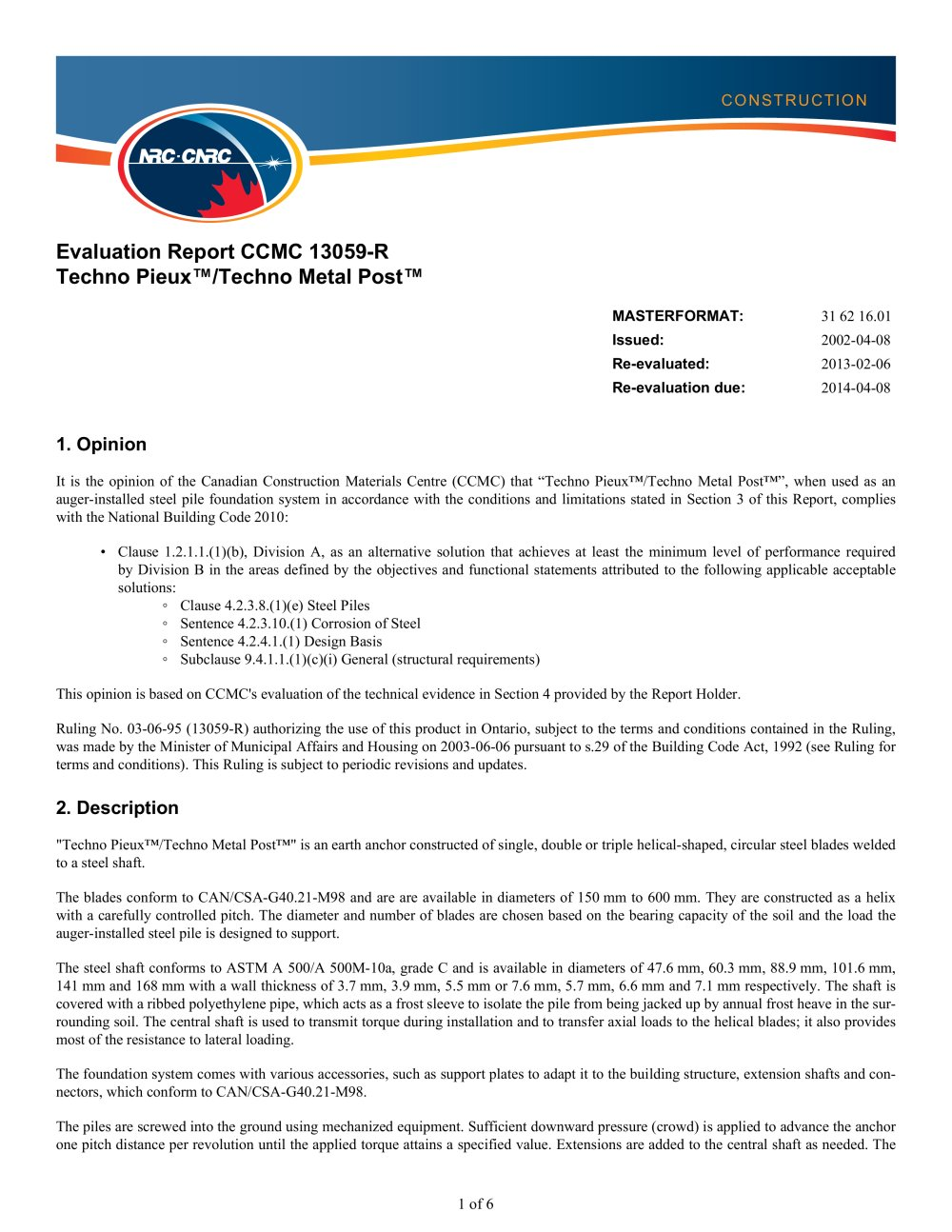 Techno metal post nrc certification techno pieux inc pdf techno metal post nrc certification 1 6 pages 1betcityfo Image collections