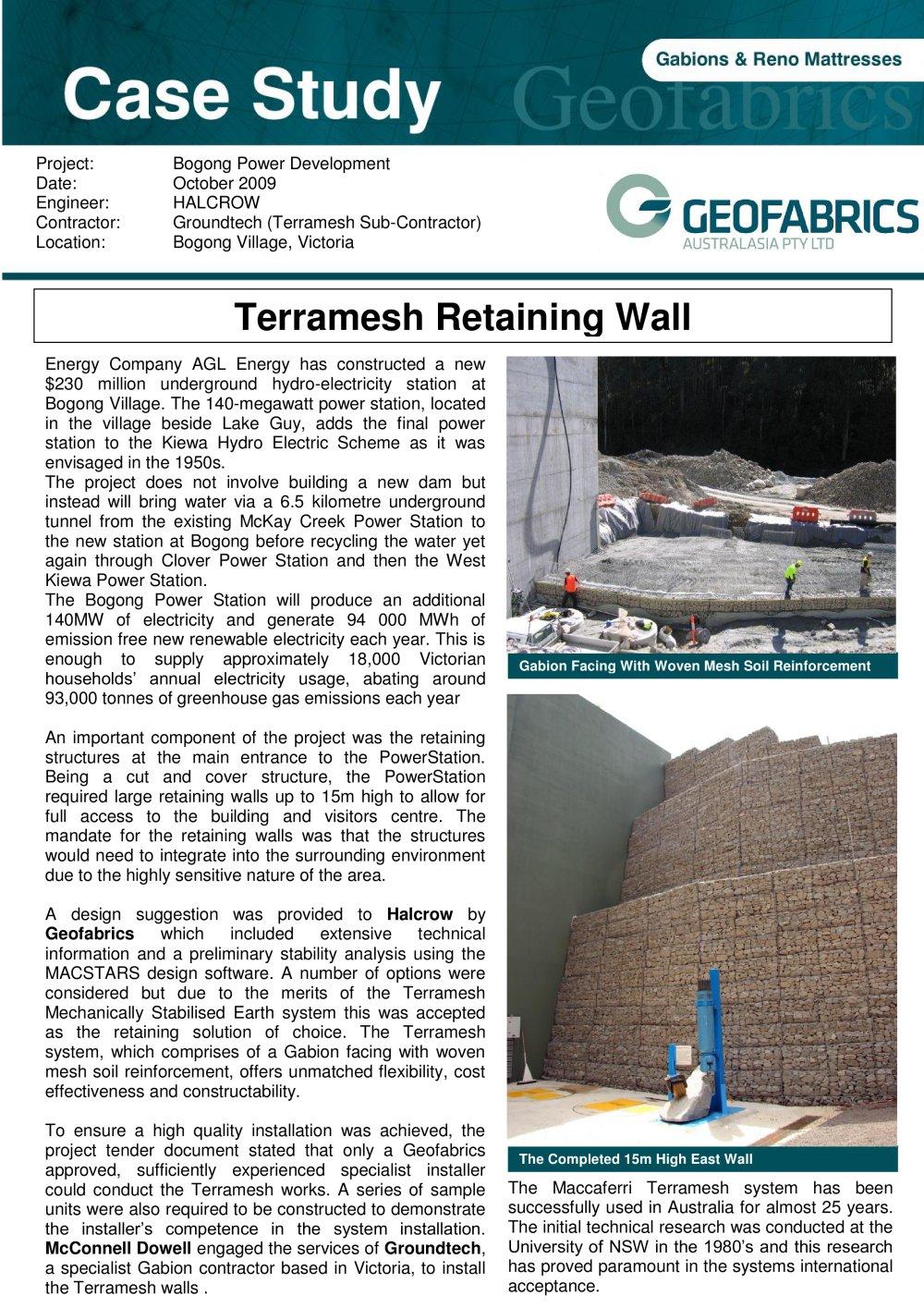 Terramesh Retaining Wall Groundtechgeo PDF Catalogues