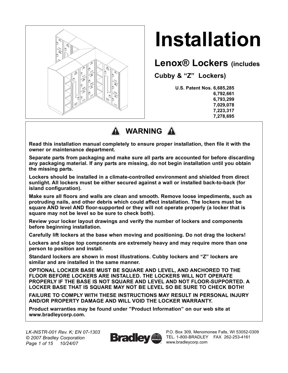 Lenox Lockers Bradley Pdf Catalogues Documentation Brochures