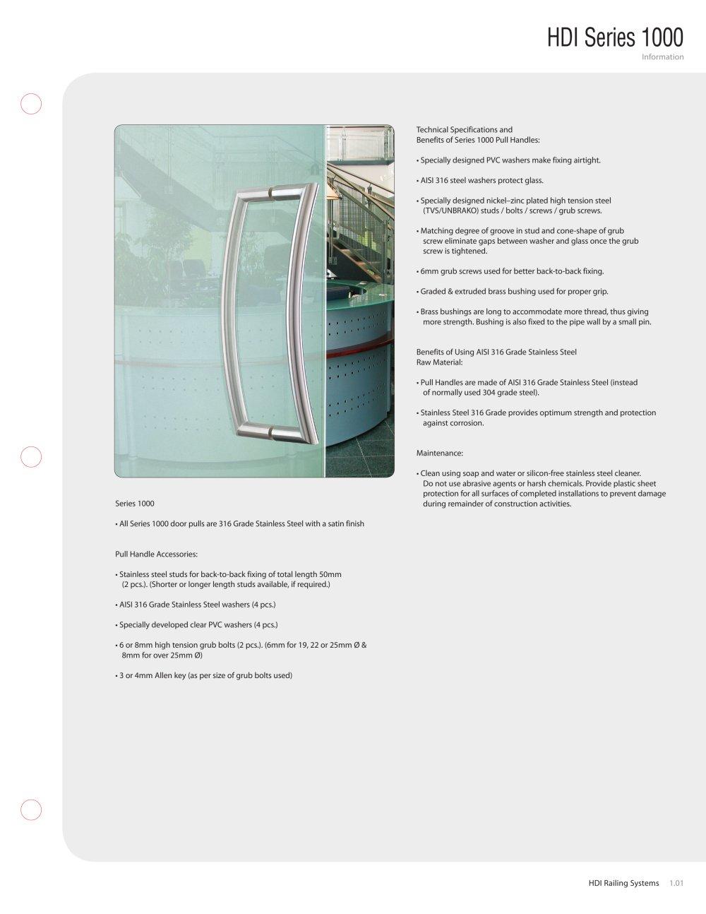 Door Pull Binder 1000 - HDI Railing Systems - PDF Catalogs