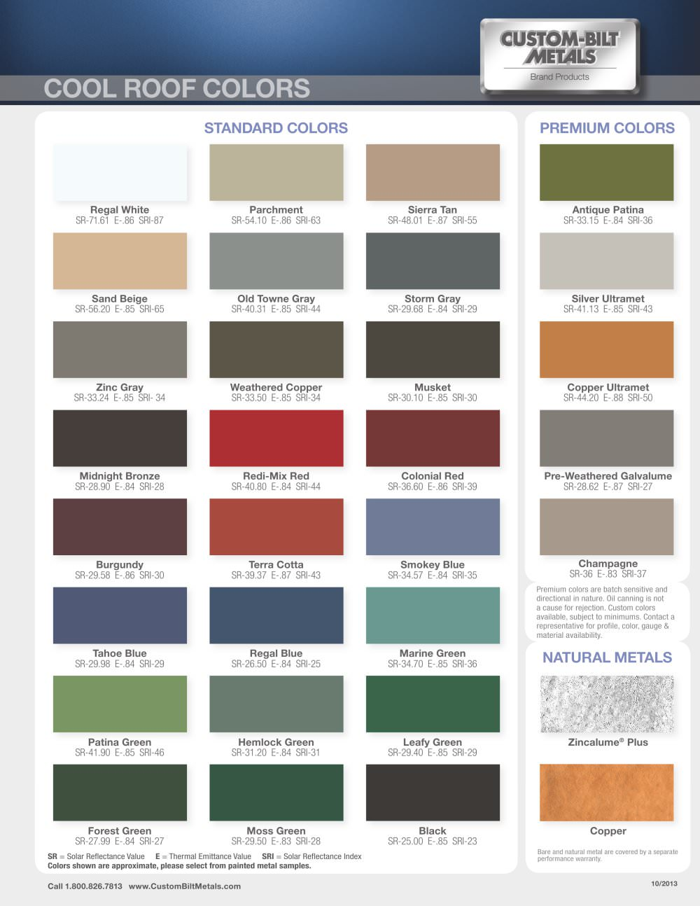 Standing Seam Roofing Color Chart - 1 / 2 Pages