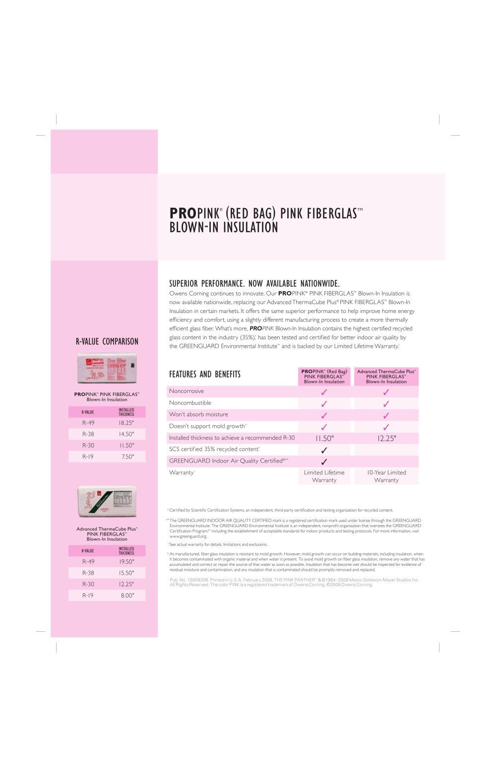 propink red bag pink fiberglas tm blownin insulation 1 1 pages
