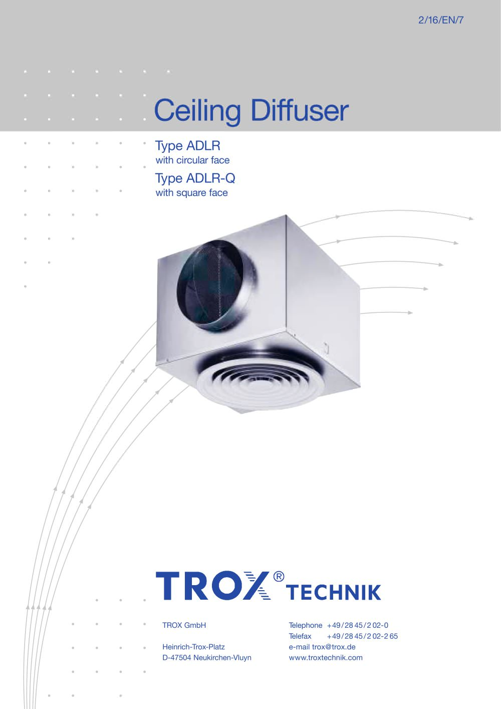 Ceiling Diffuser Type ADLR/ADLR-Q - 1 / 14 Pages