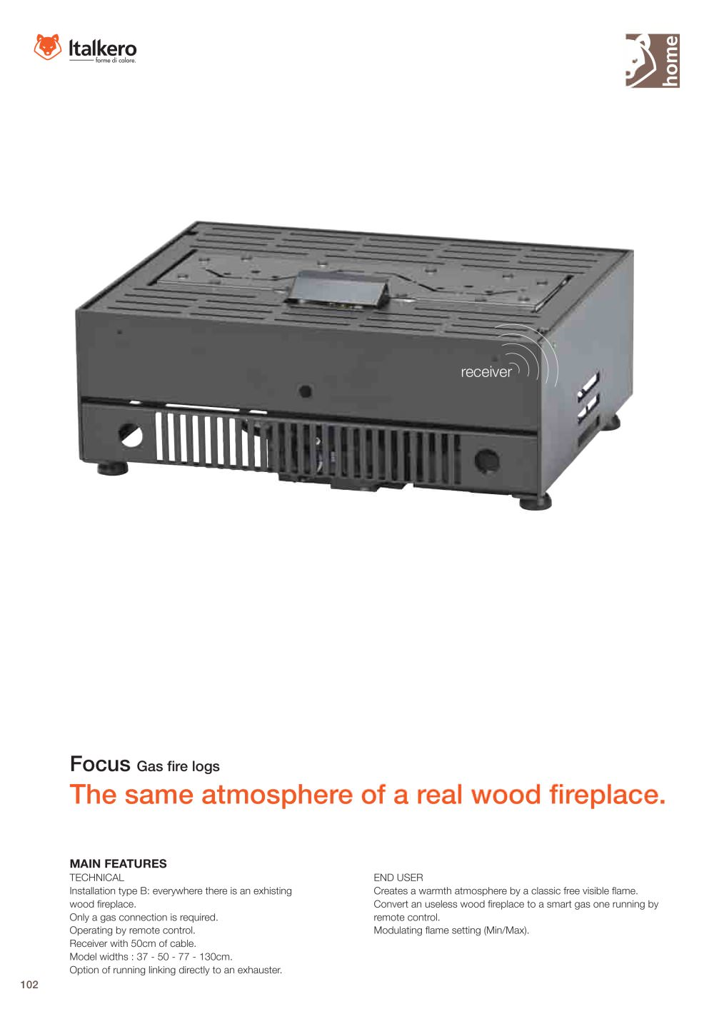 technical details gas fire log focus italkero pdf catalogues