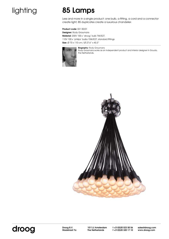 Tearsheet 85 lamps droog pdf catalogues documentation tearsheet 85 lamps 1 1 pages aloadofball Choice Image