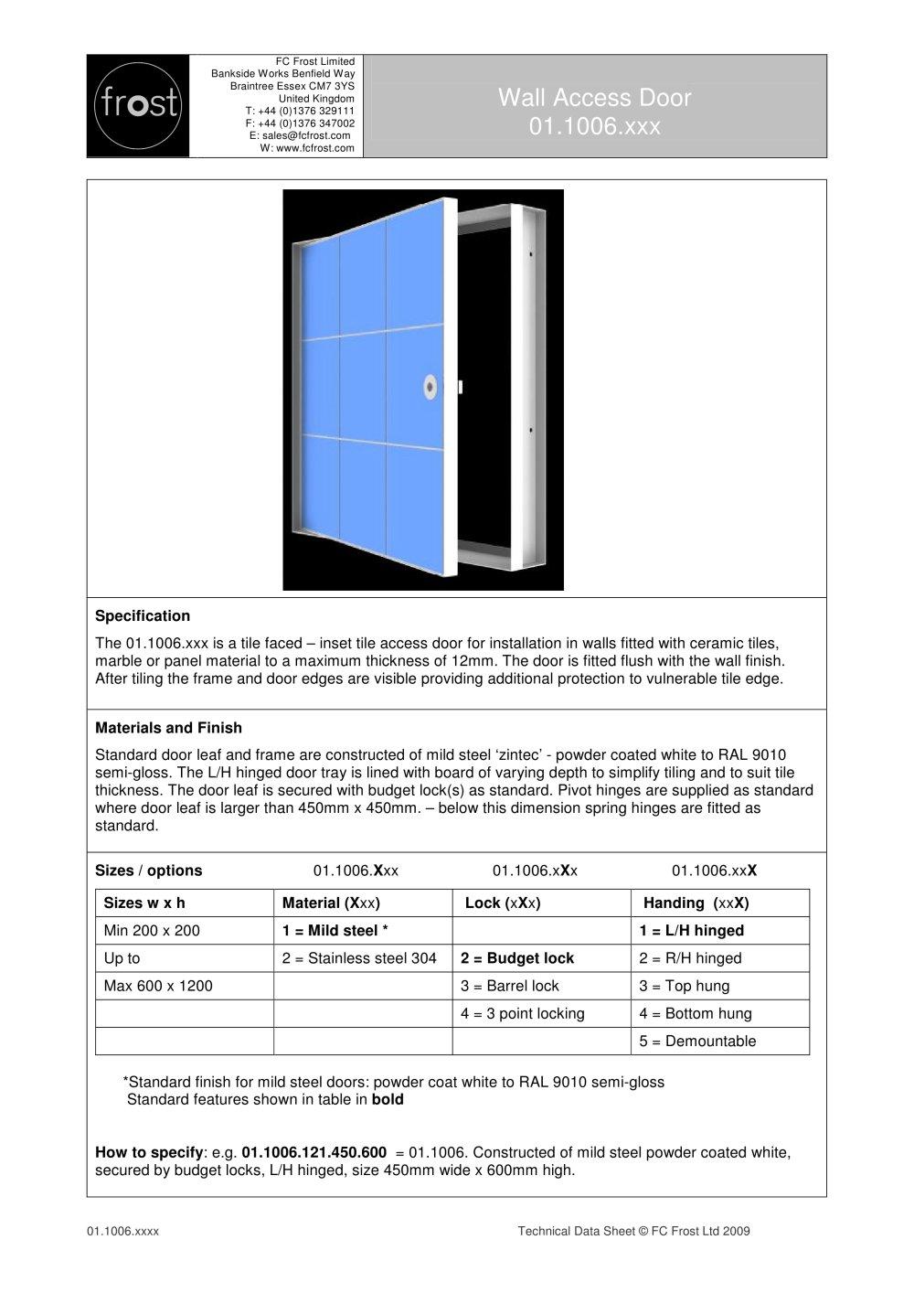 access door fc frost pdf catalogues documentation brochures