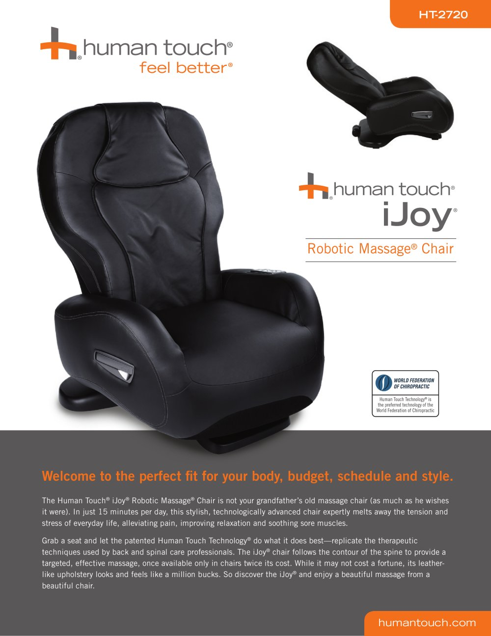 iJoy Massage Chairs:iJoy-2720 Robotic - Human Touch - PDF Catalogues ...