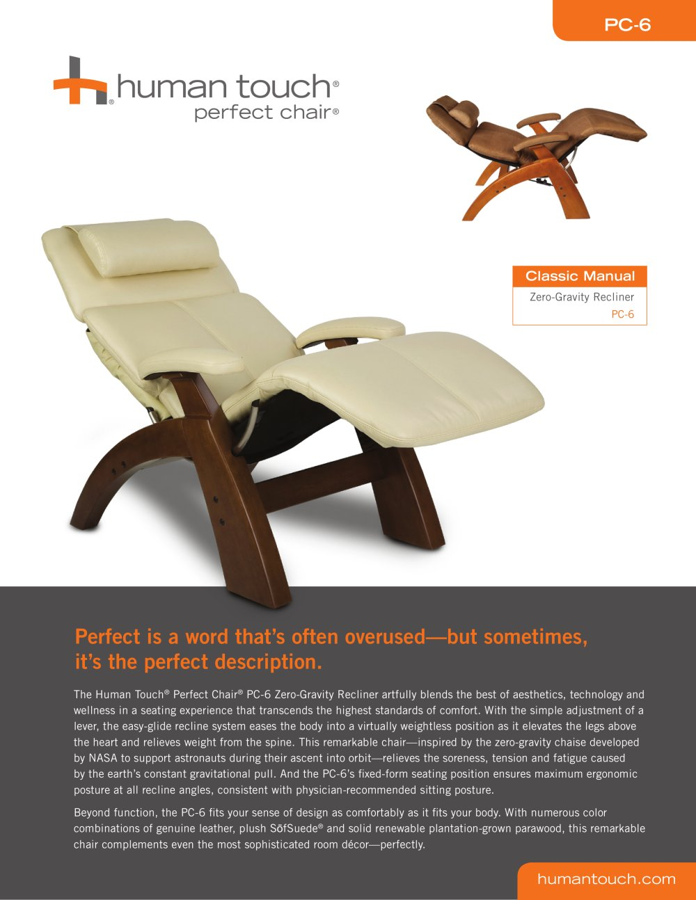 Perfect Chair Recliners:PC 6 Perfect Chair Classic Manual Zero Gravity   1  / 2 Pages