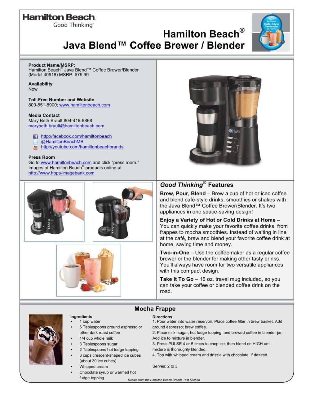 Hamilton Beach Java Blend Coffee Brewer Blender 40918